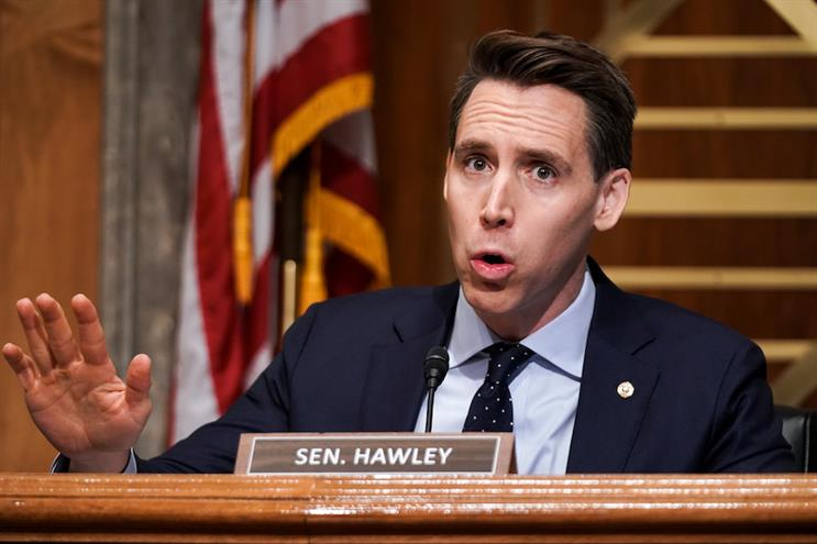 Sen. Josh Hawley (R-MO) was mocked as a 'sore loser' in a tweet erroneously posted by Walmart's account. (Photo credit: Getty Images)