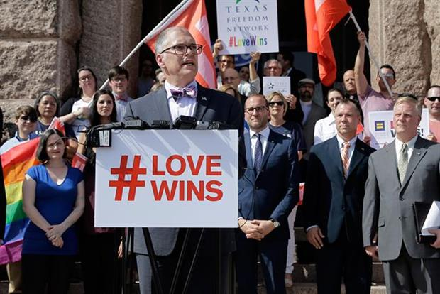 Same-sex marriage supporters celebrate the U.S. Supreme Court ruling. Pic credit: PA Photos.