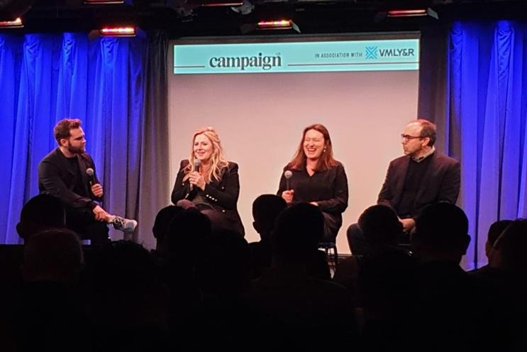 (L to R): Campaign US' Oliver McAteer, OkCupid's Melissa Hobley, Diageo's Sophie Kelly and Mitchell Caplan of Flock Associates