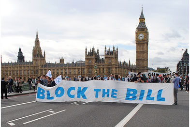 Block the bridge protest against the Health Bill earlier this month