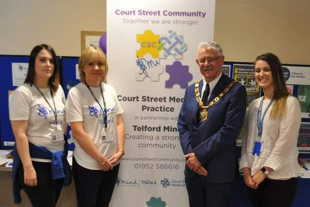 Left to right: Gemma Coulman-Smith, operations manager, Telford Mind; Louise Heap, chief executive, Telford Mind, Cllr Steve Reynolds, mayor of Telford & Wrekin, Jennifer Caldecott, senior wellbeing coordinator, Court Street Medical Practice