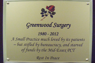 The plaque of a 'coffin' that was paraded through the South Woodham Ferrers Essex symbolising the demise of Greenwood Surgery