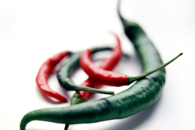 Red and green chilli peppers (Capsicum) SPL