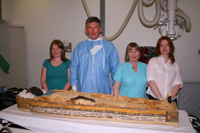 GP Dr Gerry Millar and  the team of experts that attempts to unwrap the mystery Takabuti