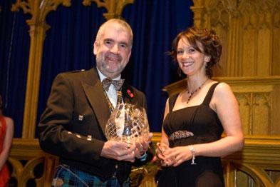 RCGP Scotland chairman Dr Ken Lawton (left) awarding Dr Canning her prize