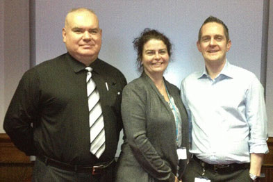 Tim Drowley (left), with colleague Joanne Whitmore and Darren Biega (right).