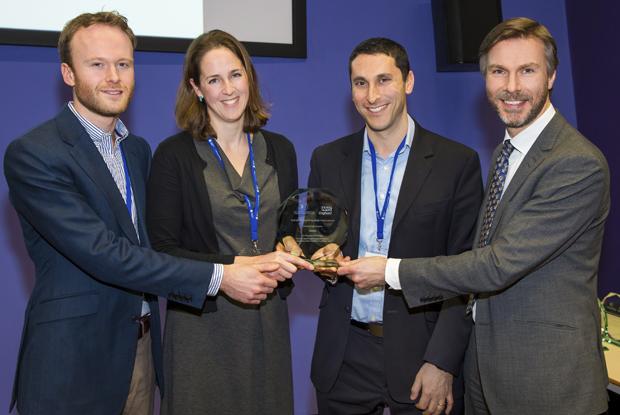 Nurse practitioner Liz Cross and GP Dr David Zemmel (both centre) receive the Acorn Prize