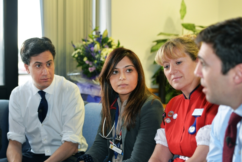 Ed Miliband (left) and Andy Burnham (right) meet staff at Nuneaton's George Eliot Hospital (Photo: UNP)