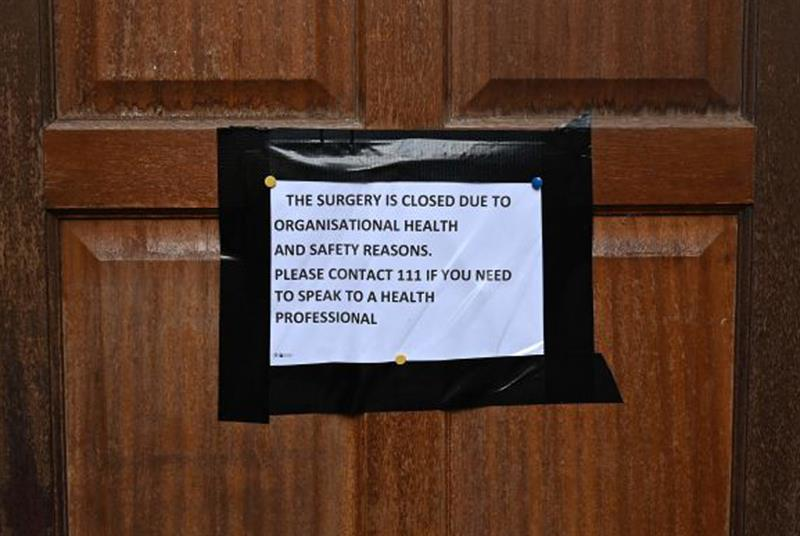 Notice on GP surgery door while practice was closed (Photo: Glyn Kirk/Getty Images)