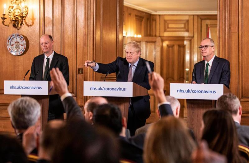 Prime minister Boris Johnson flanked by CMO Professor Chris Whitty (left) and chief scientific officer Professor Sir Patrick Vallance (Photo: Richard Pohle/WPA Pool/Getty Images)
