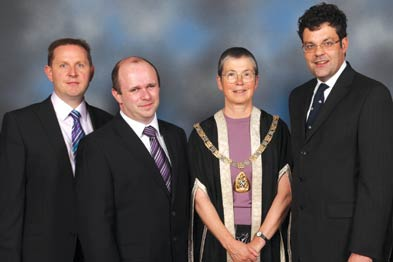 Left to right: Dr Matt Lee, director of professional services at the MDU, Dr David Fitzsimons, RCGP president Dr Iona Heath, and Dr Robert Blackbourn.