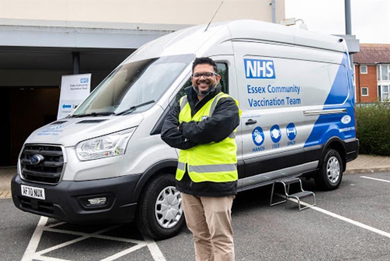 Dr Smitesh Patel with the Essex Vax Van