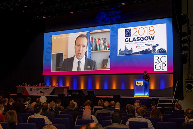 Health and social care secretary Matt Hancock sent a video message to the RCGP annual conference (Photo: Pete Hill)