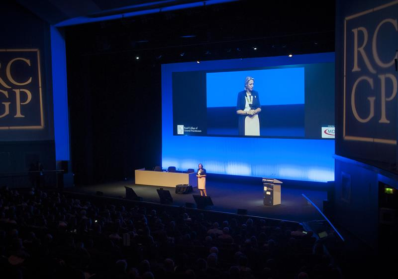 RCGP chair Professor Helen Stokes-Lampard addresses the college's annual conference (Photo: Pete Hill)