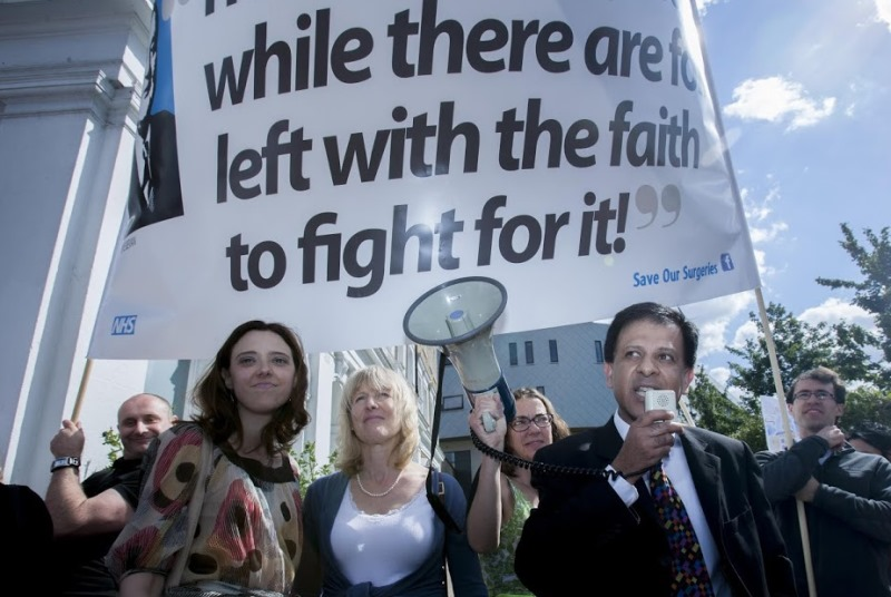 Dr Naomi Beer (left of centre) takes part in protests over MPIG cuts (Photo: Wilde Fry)
