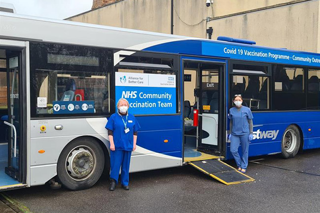 Staff welcome patients to the mobile COVID-19 unit (Photo: Alliance for Better Care)