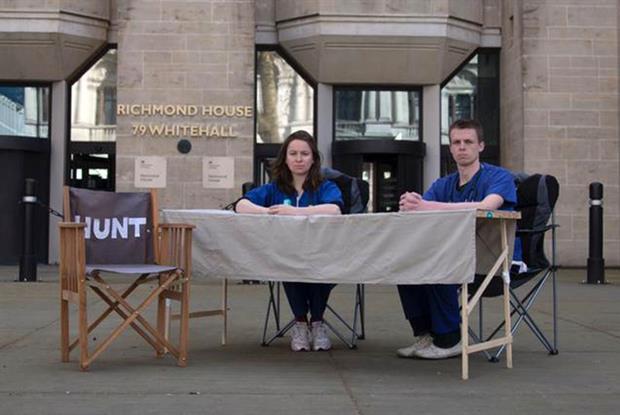 Junior doctors Dr Rachel Clarke and Dr Dagan Lonsdale outside the DH