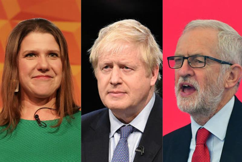 Party leaders Jo Swinson, Boris Johnson and Jeremy Corbyn (Photo: Getty Images/Dan Kitwood/Anthony Devlin)