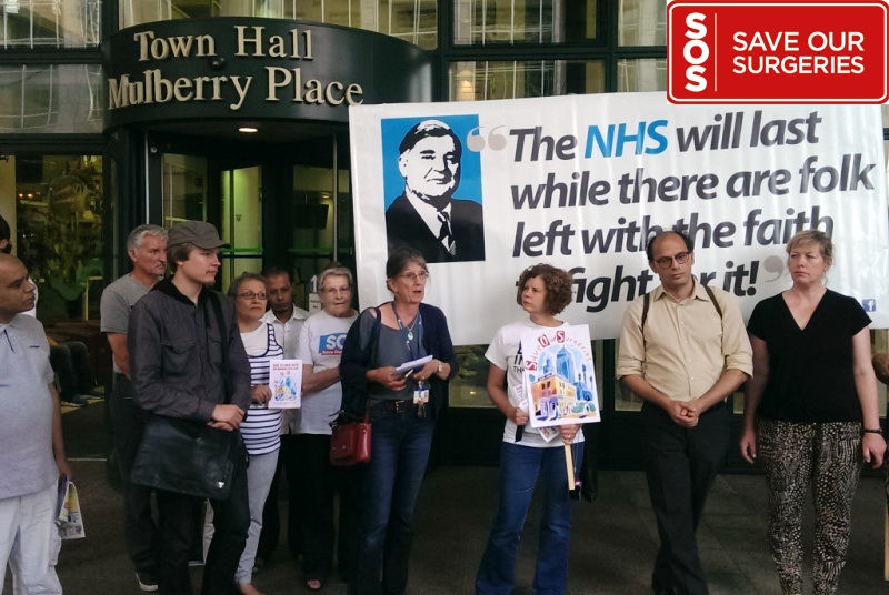 Save our Surgeries campaigners outside Tower Hamlets town hall (Photo: Neil Roberts)