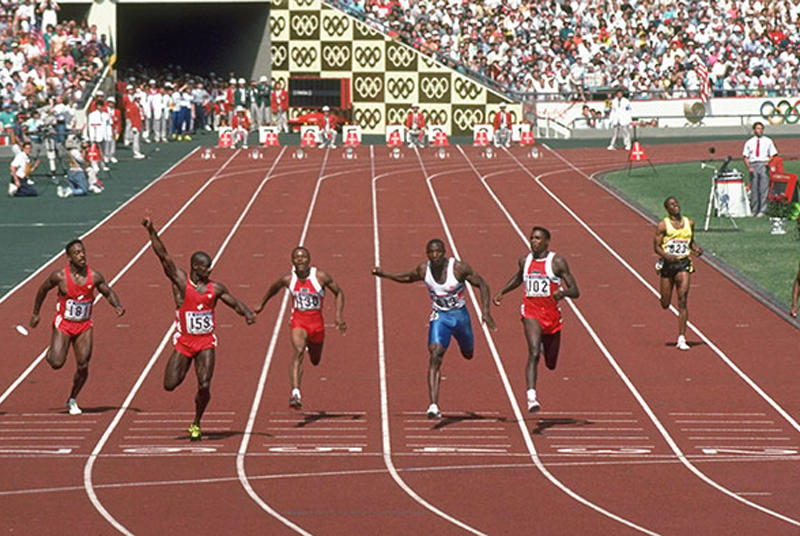 Ben Johnson (far left) tested positive for stanozolol after his 100m win at the 1988 Seoul Olympics