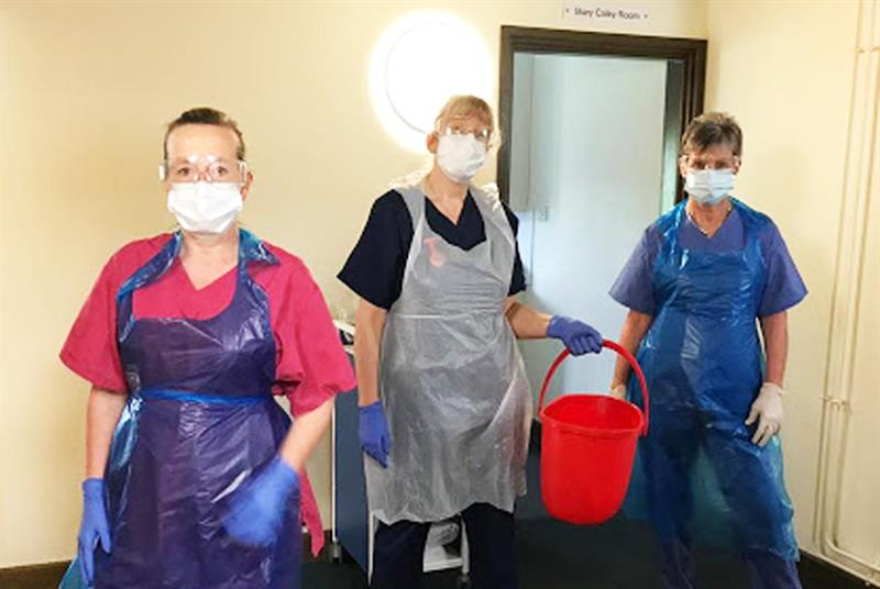 Staff wearing PPE at the Combs Ford Surgery 'hot' site