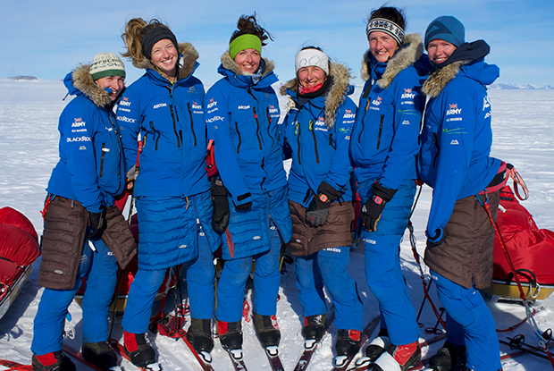 Major Nicola Wetherill (second from left) and the Ice Maidens team