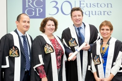 Naked Chef Jamie Oliver receives RCGP fellowship flanked by Dr Maureen Baker, RCGP chairwoman elect, and RCGP chairwoman Professor Clare Gerada