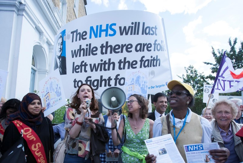 Save our Surgeries campaigners in East London protest against cuts (Photo: Wilde Fry)