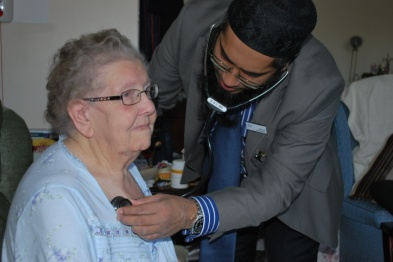 On-call GP Dr Ruhul Amin visits a patient in Bedford (Photo: Bedfordshire CCG)