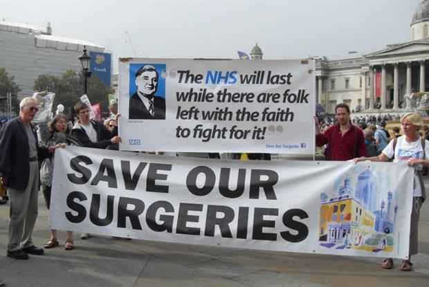 Campaigners protest in London over GP underfunding