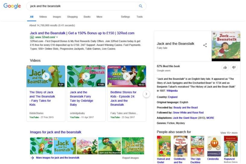 32Red ads that appeared alongside Jack and the Beanstalk on Google banned