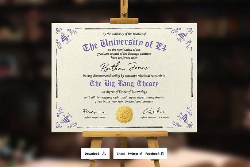 Channel 4 establishes 'sitcom degree' ahead of Big Bang Theory finale