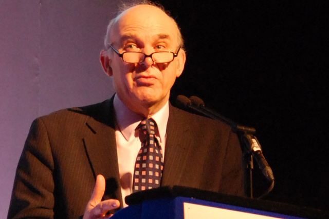 Vince Cable: relieved of responsibilty for media and telecoms issues