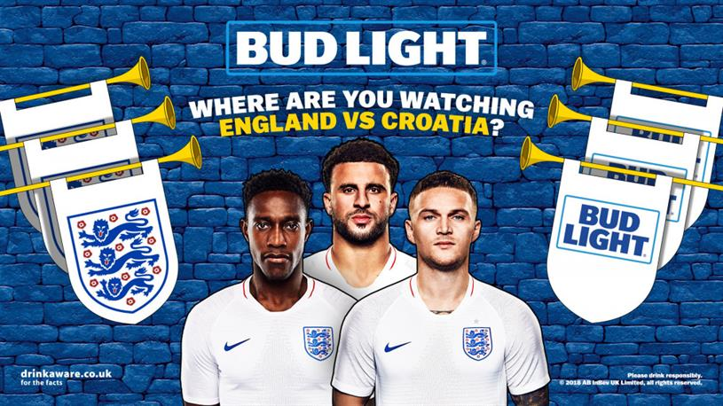 Bud Light: succeeded Carlsberg as main sponsor of the England men's football team last year