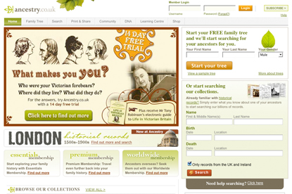 Ancestry.co.uk... pitch