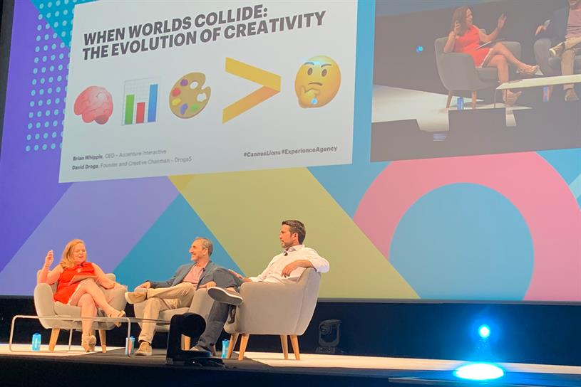 Cannes Lions: Droga (centre) and Whipple (right) with Suzanne Vranica of The Wall Street Journal