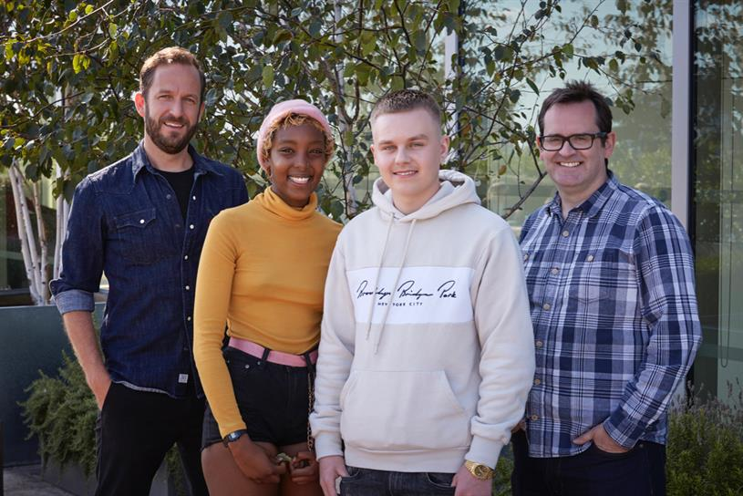 Chief creative officer Al Mackie, participants Muniira and Adam, and Sid Gordon