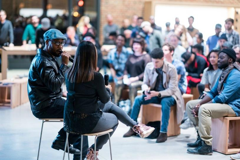 Legendary hip-hop producer RZA leads an 'Art of Beatmaking' session at Apple Williamsburg, Brooklyn