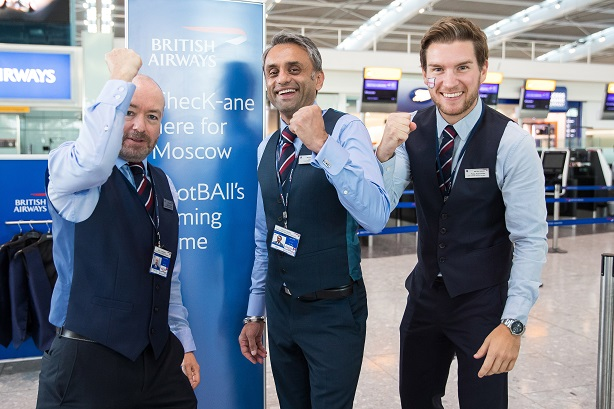 British Airways: gives away waistcoats to celebrate England semi-final World Cup game