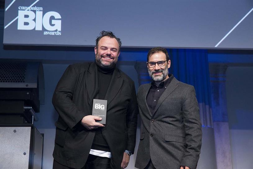 Adam & Eve/DDB: CCO Richard Brim on stage with host Adam Buxton