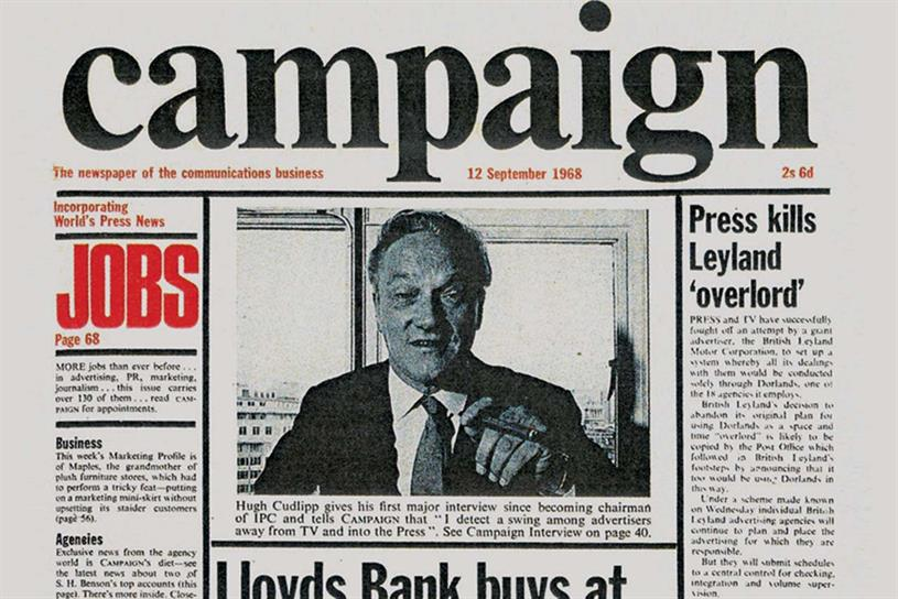 Campaign's first issue: Schenk was instrumental in creating the magazine's identity