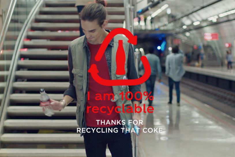 Coca-Cola encouraging consumers to recycle their empty bottles
