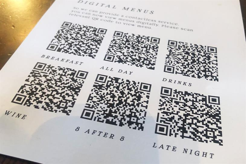 QR codes: digital menus have become the norm