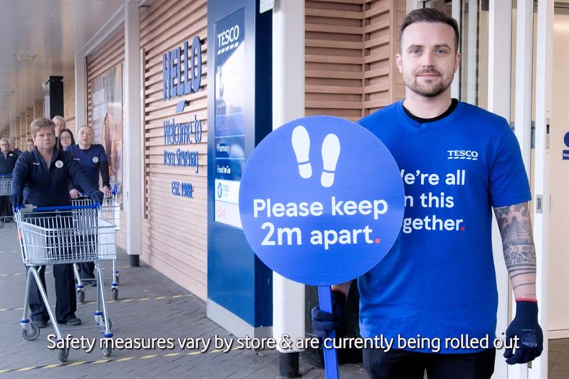 Tesco: ad showcases supermarket's social-distancing efforts