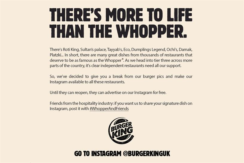Burger King: chain will be promoting signature dishes from other restaurants