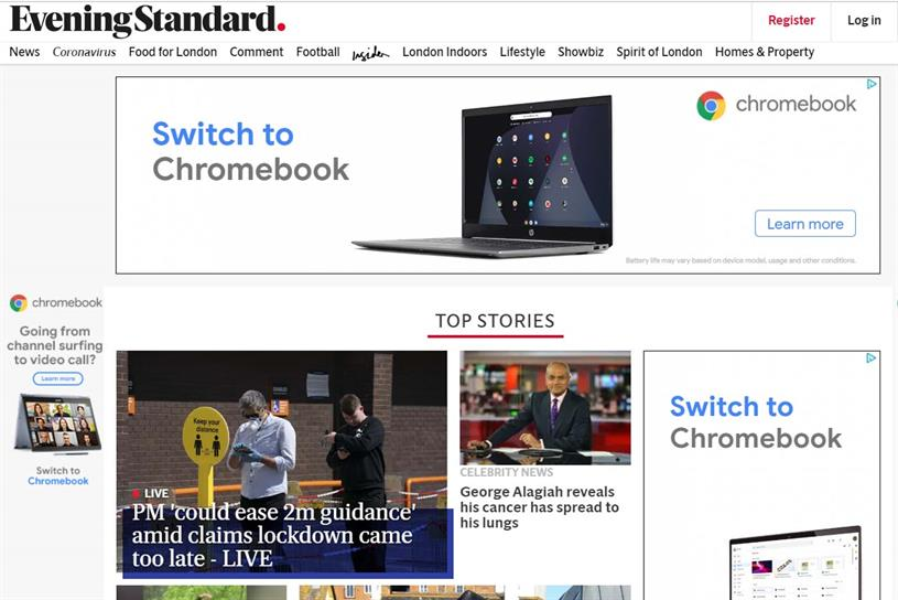 Evening Standard homepage, carrying ads for Google's Chromebook