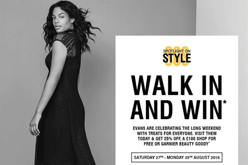 Evans: running in-store promotion in partnership with Garnier