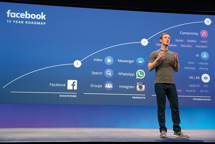 Facebook: Zuckerberg on stage at F8, where he revealed his ten-year plan for the company