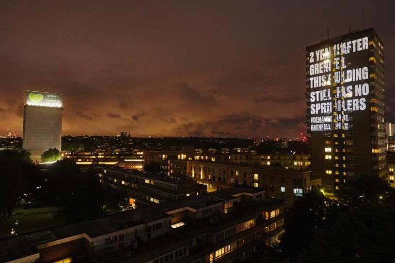 Frinstead House: to the right of Grenfell Tower