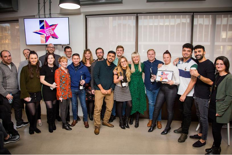 The Haymarket recruitment sales & marketing team receiving their award for 'Sales Excellence' at the HBM Awards, December 2018.